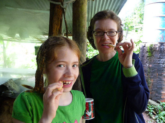 Andrea and Isabel eating sugar cane | They are chewing on ...