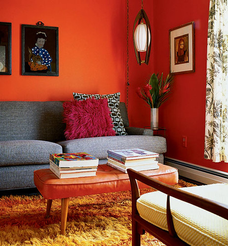 Mid Century Living Room With Orange Walls Blogged On