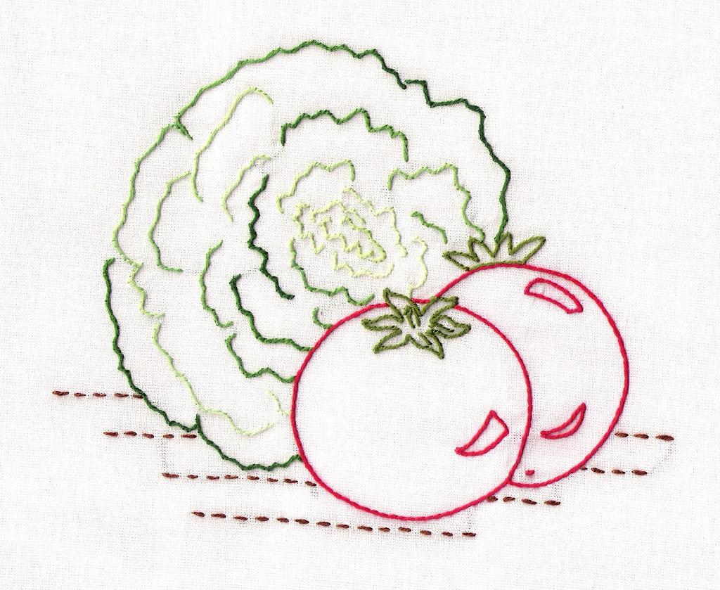 Aunt martha pattern vegetables front hand