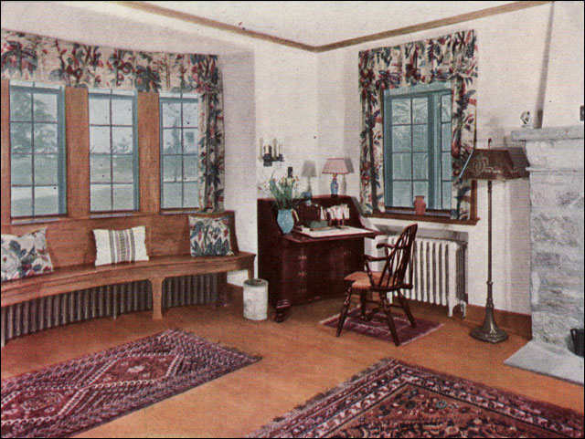 1930 living room ad for oak floors a bit wordier for Classic american decorating style