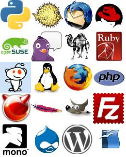 Open Source Logos | Collage of F/OSS logos. Contains logos ...