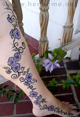 Body Paint - purple flowers on leg
