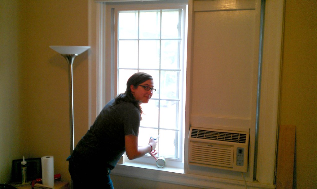 Sliding Window Air Conditioner Frame Installed From Insi