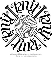 """Knit"" & ""Purl"" Ambigram Circle v.2 