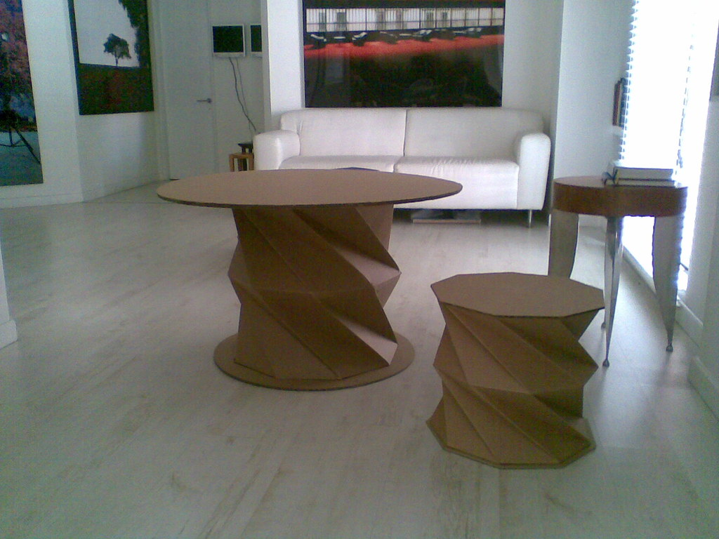 Cardboard Collapsible Table And Stool This Furniture Is