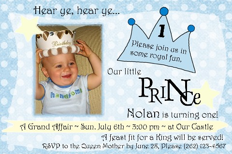 Nolan Little Prince 1st birthday invitation amyscustomgree – Prince 1st Birthday Invitations
