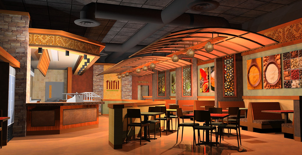 Interior restaurant design d rendering res