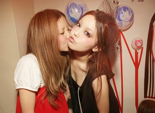 Two Japanese Girls Kissing