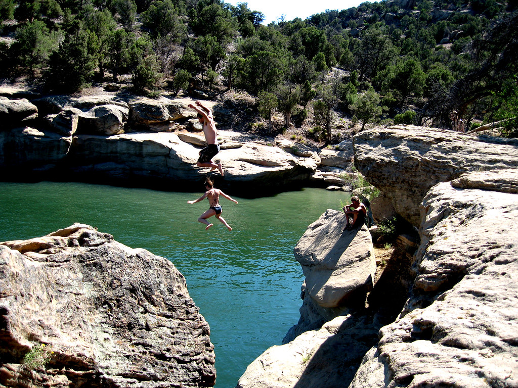 Cliff Jumping At Navajo Lake Nm An Older Photo From A