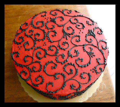 Images Of Red Cake : Red Cake with Black Scrolls Rianne Flickr
