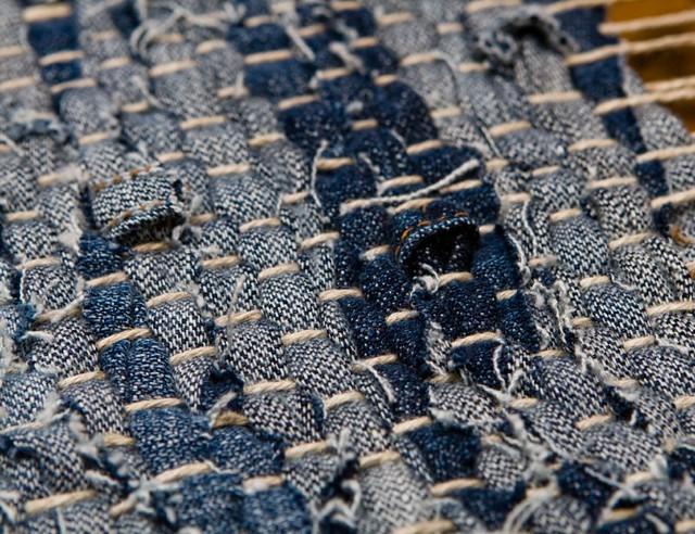 Denim Weft Weaving My Denim Strip Rug Made Out Of Old
