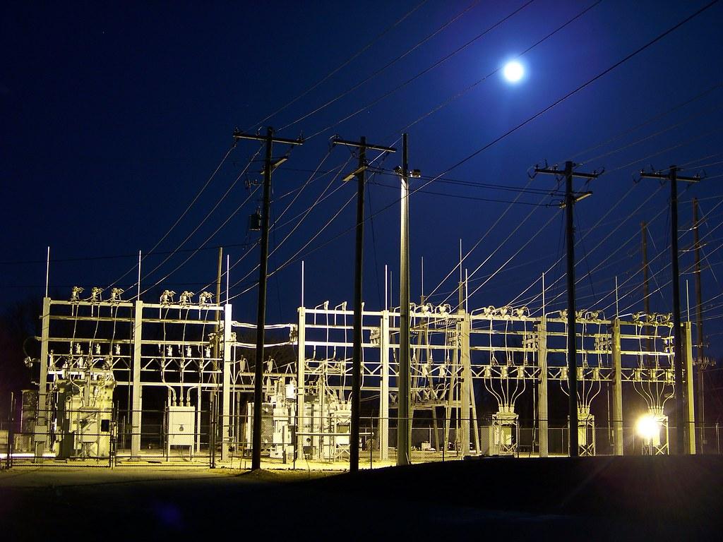 Night Power Substation Moon Power Substation With Moon