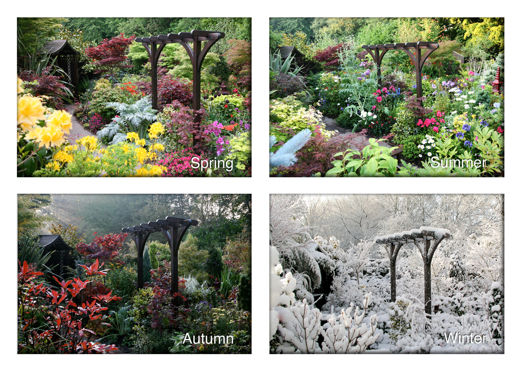 Four seasons garden pergola view spring summer autumn wi for Gardening 4 all seasons