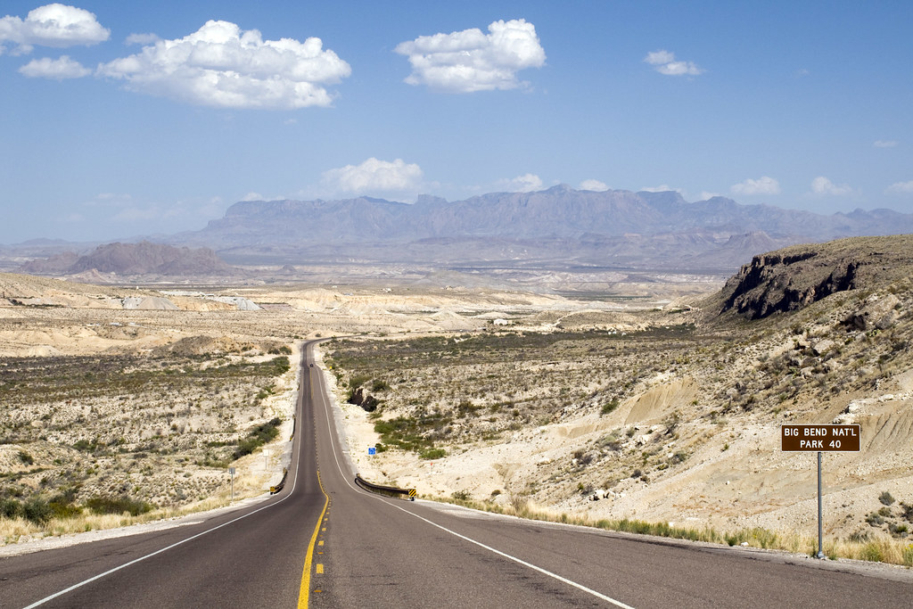 Open Road We Approached Big Bend From The West Driving