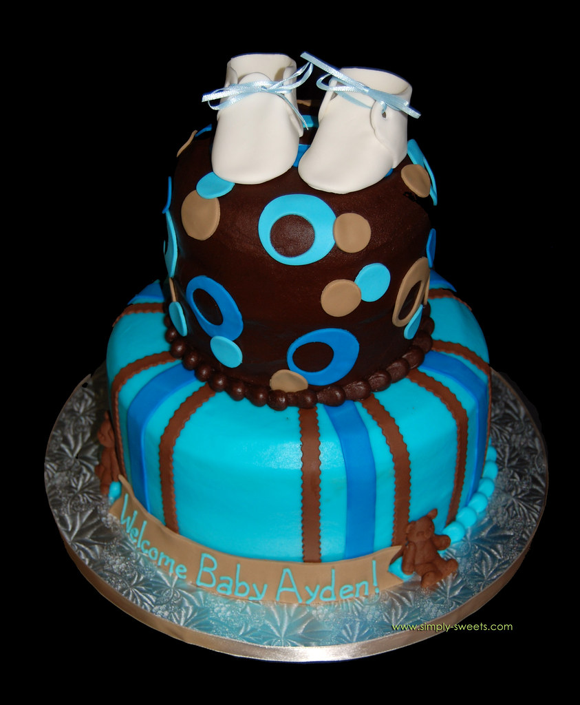 Brown Tan And Blue 2 Tier Baby Shower Cake With Baby Boot Flickr