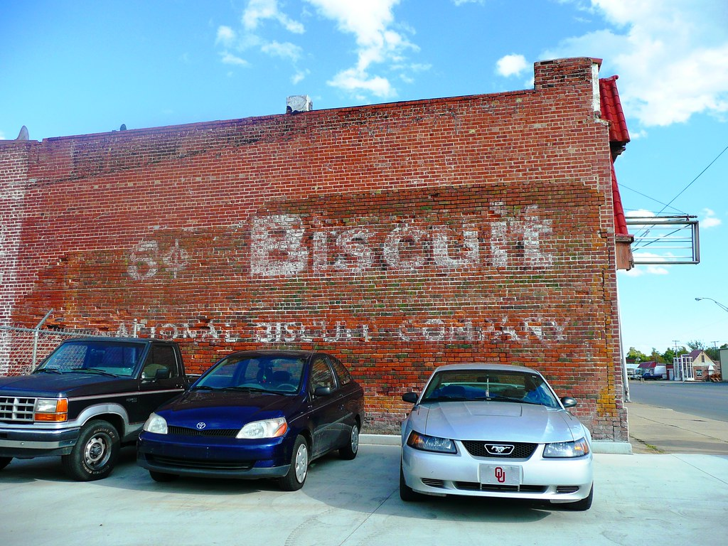 Muskogee Ok Biscuit Painted Sign Nice Old Nabisco Ghost