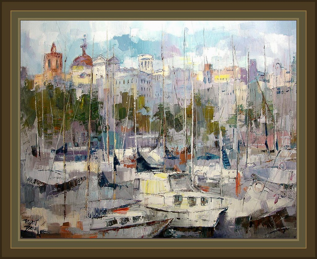 Puerto de barcelona marinas barcos pintura cuadros pintor flickr - Pintores de barcelona ...