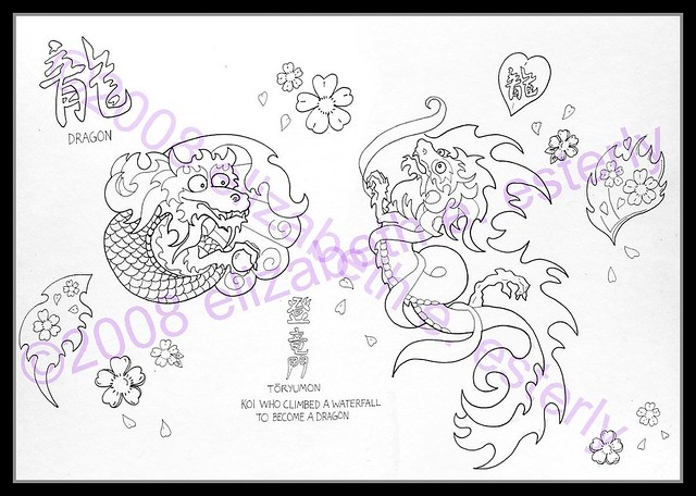 Tattoo Flash Dragons And Cherry Blossoms Line Color Ver Flickr
