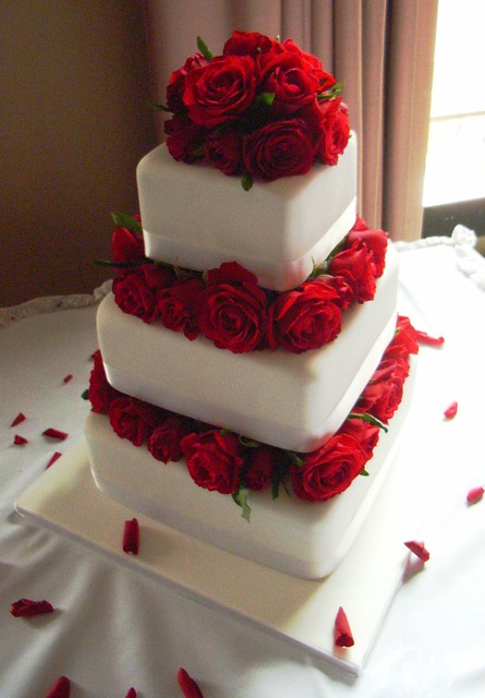4 tier wedding cake with red roses roses wedding cake georgious three tier fresh 10424