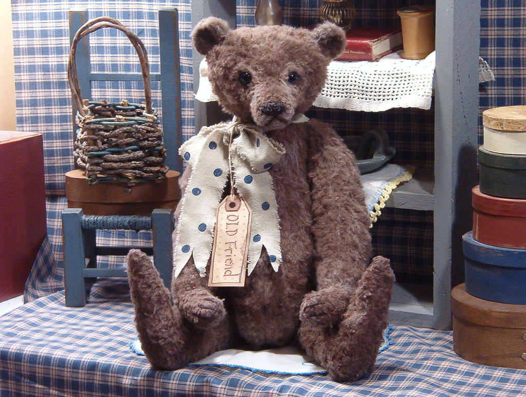 old fashioned felt teddy bear-adopted | ooak Antique Style ...