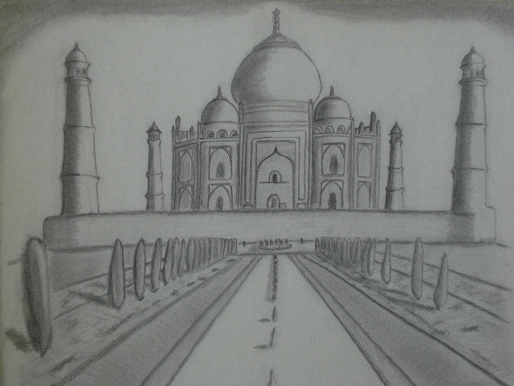 Taj Mahal Line Drawing Easy : Taj mahal pencil sketch salma k flickr