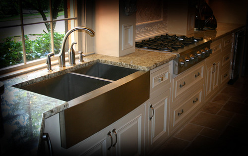 Remodeled kitchen with Lavello Farmhouse sink curved apron…