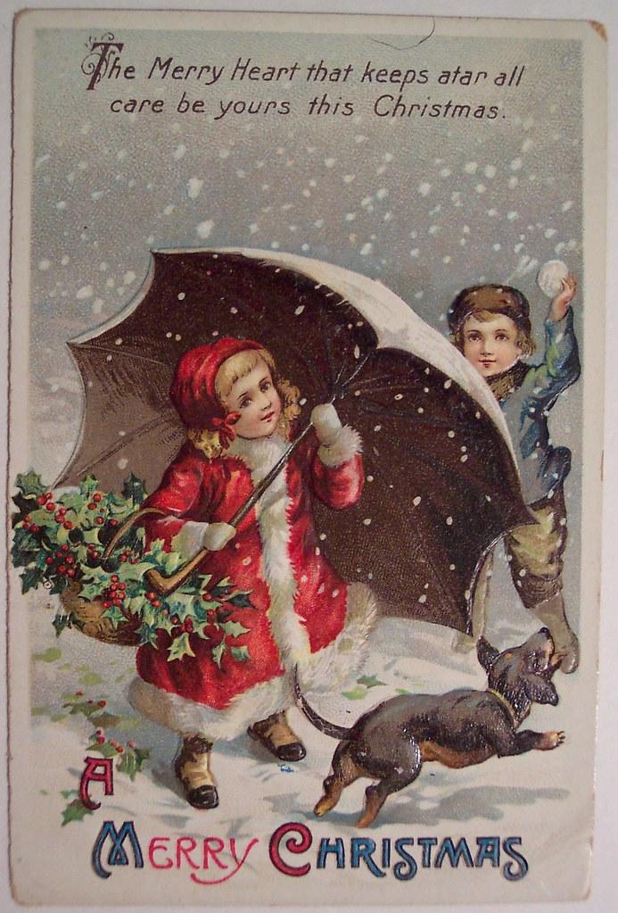 Postcard How To Build Global Community: Vintage Christmas Postcard - Dog