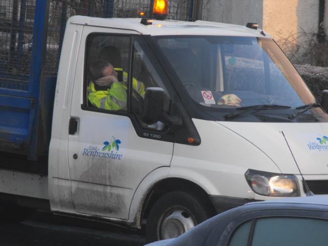 white  pickup  van man