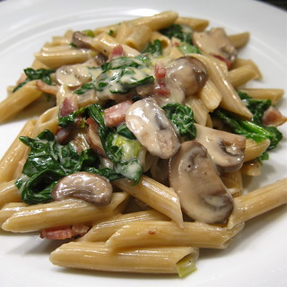 #115 - Penne with Creamy Spinach, Mushrooms & Bacon | by katbaro