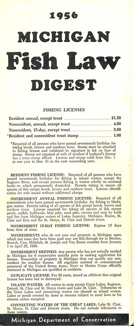 1956 michigan vintage fishing license law digest guide for Michigan fishing license online