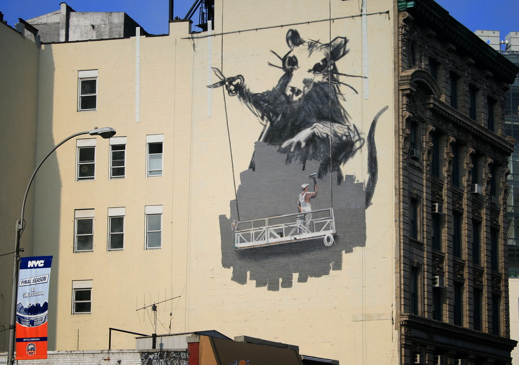 banksy rat mural on canal street chinatown new york city