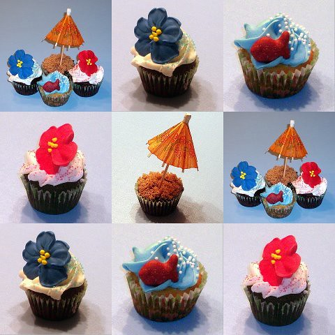 Luau Cupcake Collage | Here are the closeups of the ...