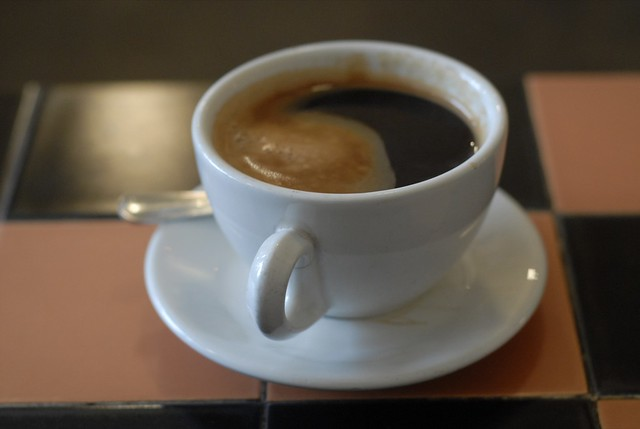 Americano | A cup of a coffee on a tiled table. Hell's Kitch ...
