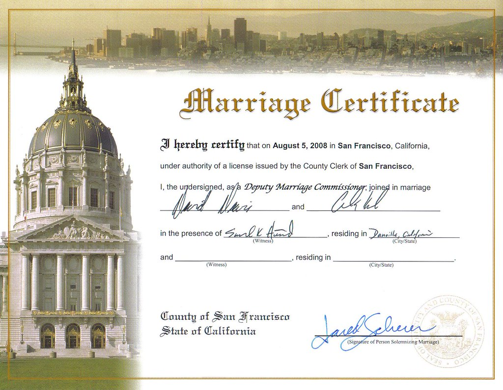 San francisco gay marriage licenses