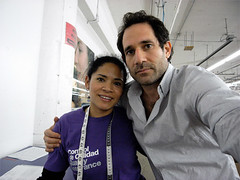 Dov Charney with a factory employee | by dovcharney