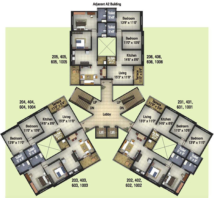 Kumar properties 39 kumar palmcrest pisoli pune floor plan for Four bhk bungalow plan