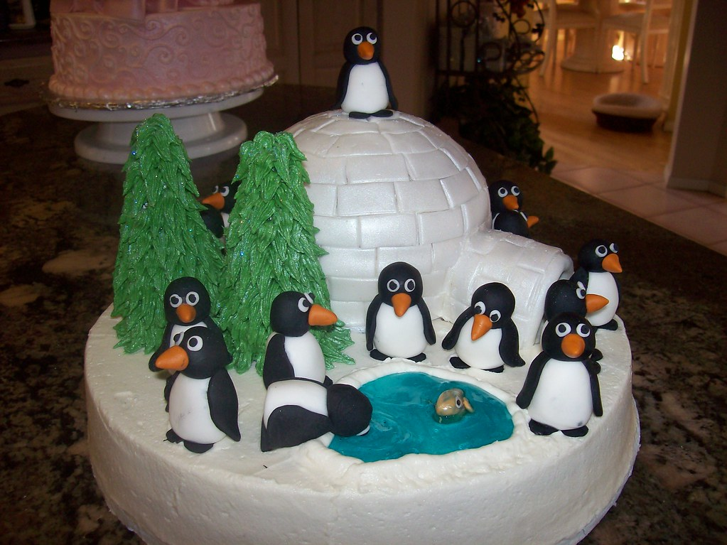 Penguin Pals Birthday Cake Buttercream Cake With
