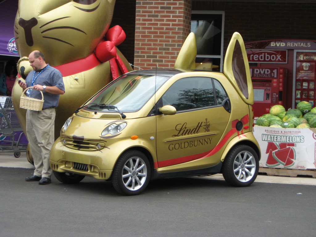 rabbit car a smart car dressed up to advertise lindt candi flickr