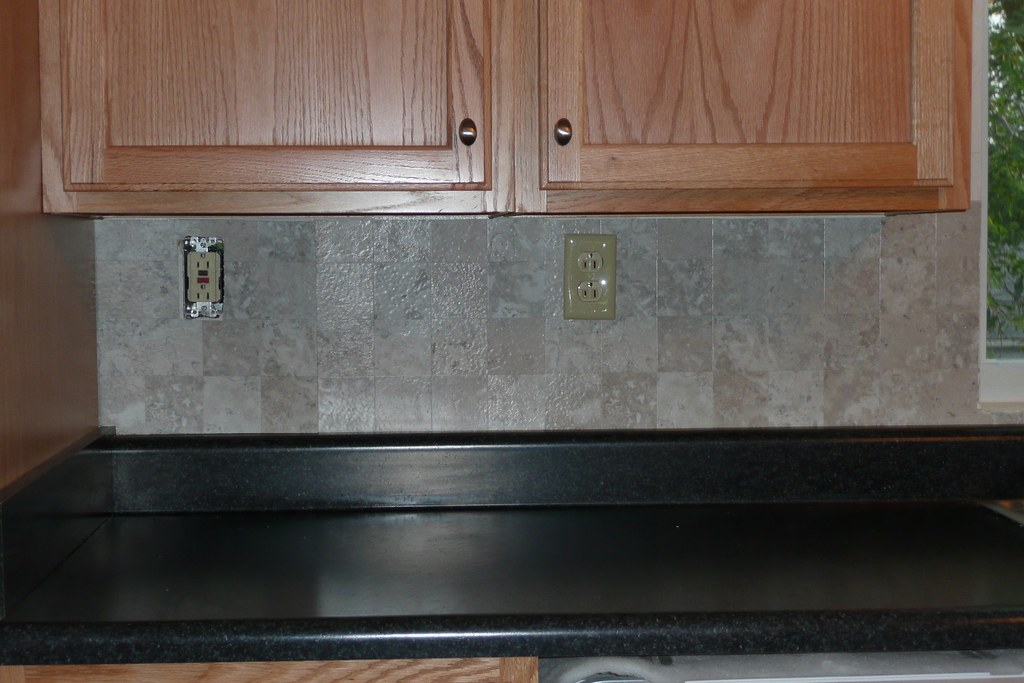 Vinyl Tile Backsplash Only This Part Is Done However