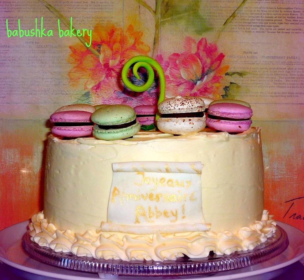 French Style Macaron Birthday Cake