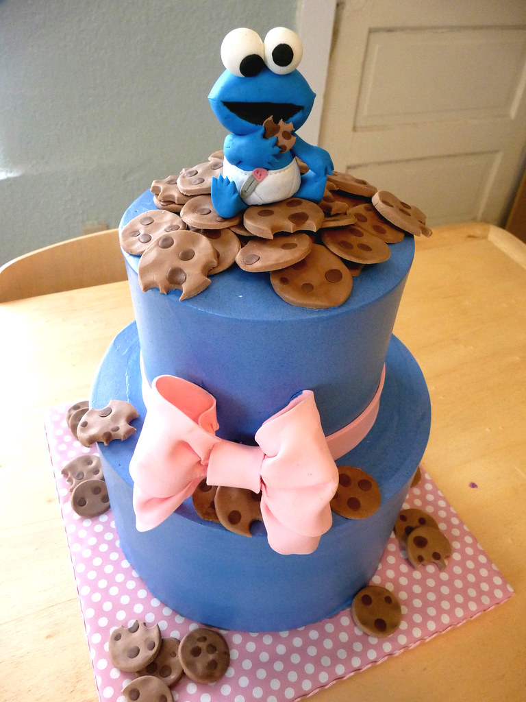 baby cookie monster cake | cookie monster baby shower cake ...