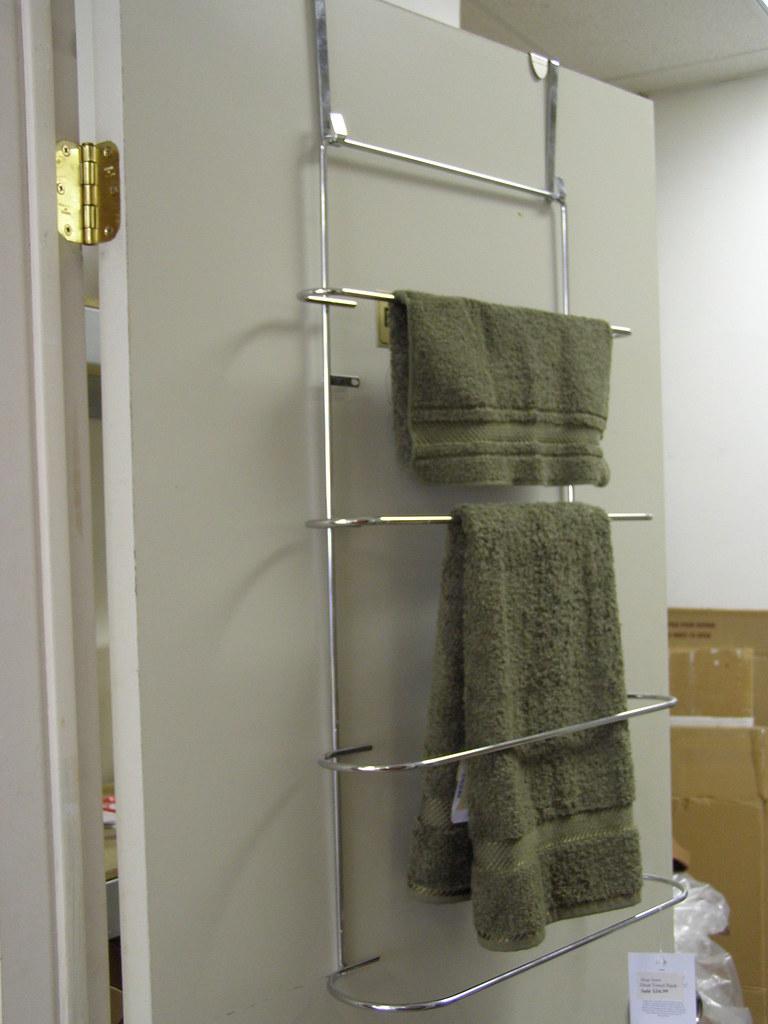 Over The Door 3 Tier Bathroom Towel Bar Rack Chrome W: Over The Door Towel Rack $25