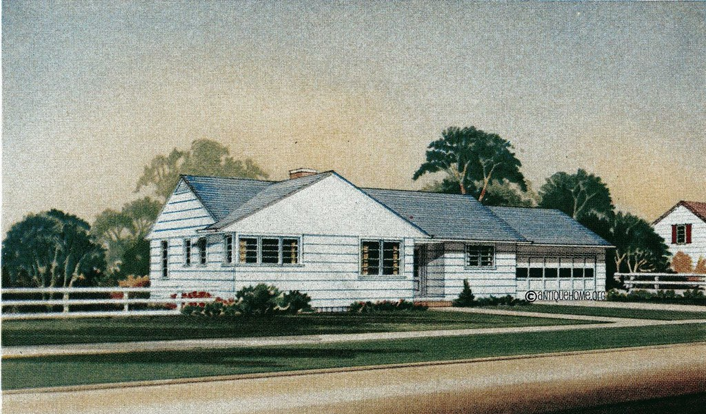 The englewood 1950s ranch style home liberty homes kit for Ranch style home kits