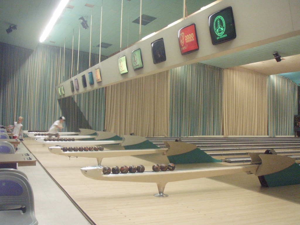 Interior of o connor bowling alley a fantasia in aqua Bowling alley floor plans