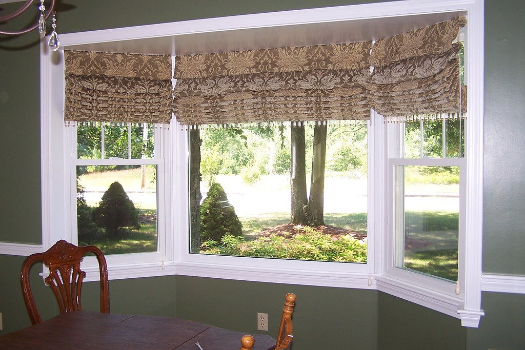 Pleated Roman Shades With Trim In