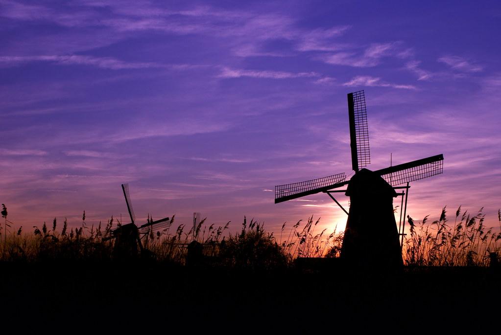 Windmill - Sunset - Kinderdijk - Holland | Windmill ...