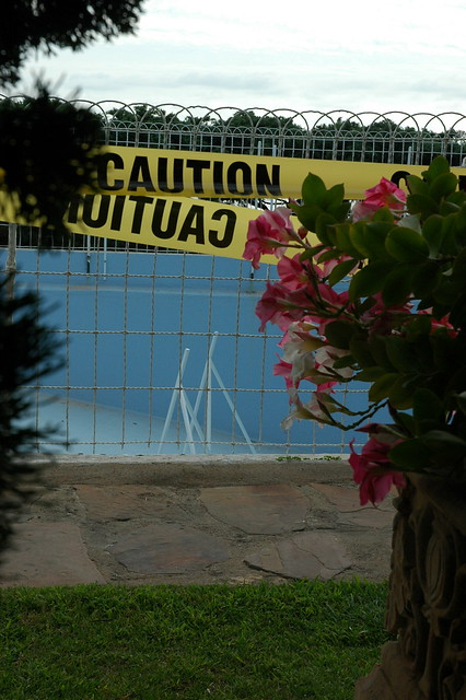 Caution Tape Over The Pool Flowers Self Realization Fellowship Encinitas California Usa