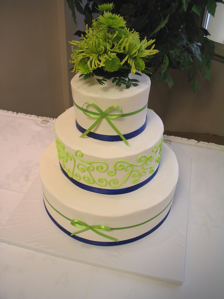 lime green and blue wedding cakes 3 tier wedding lime green and royal blue ribbon giggy s 16894