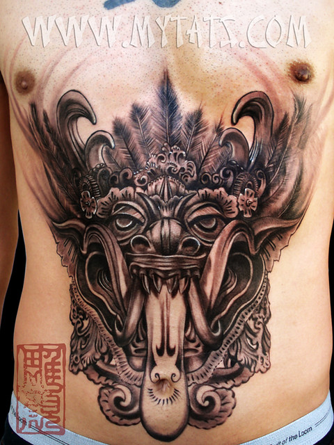 barong black gray realistic tattoo of barong a mytholog flickr. Black Bedroom Furniture Sets. Home Design Ideas