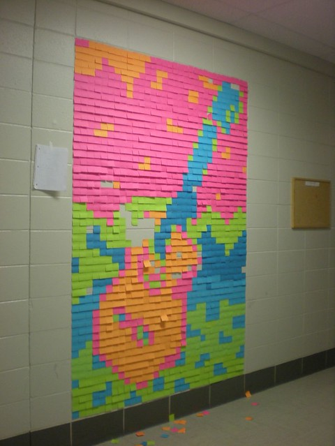 Post It Art A Trail Of Tiny Post It Notes On The Floor